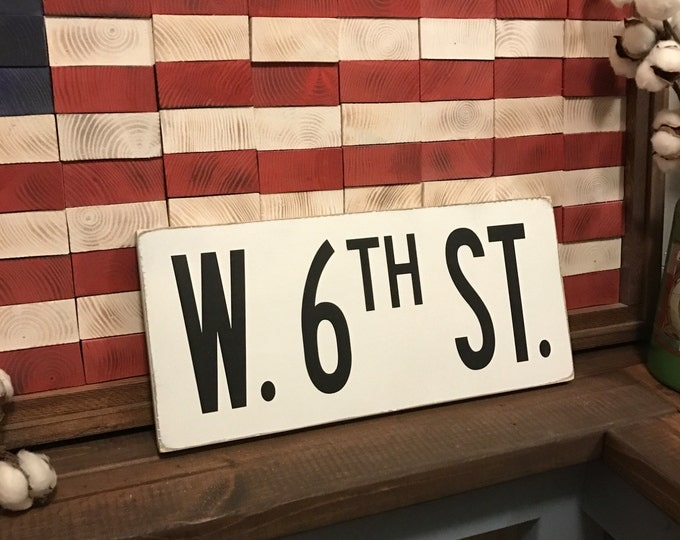 Customized Rustic White Street Sign