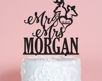 Deer Mr and Mrs with Name and Date Wedding Cake Topper