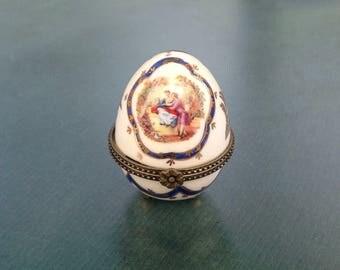 Limoges style porcelain box, egg shaped box, trinket box, pill box, Easter present.