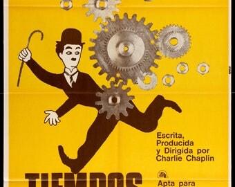 """Modern Times (1936) Original R70s Argentine Movie Poster - 29"""" x 43"""""""