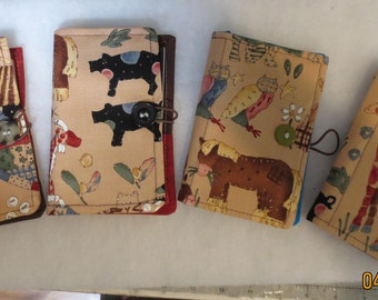 Fabric notepad/memopad/grocerylist/Organizer with Animal Prints