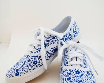 Hand Painted Canvas Shoes- Polish Pottery Inspired