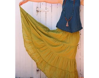 Gauze Cotton Boho Gypsy Tiered Maxi Skirt in CHARTREUSE // Pockets, Natural Fiber, Flexible Waistband / Breathable Elegance!