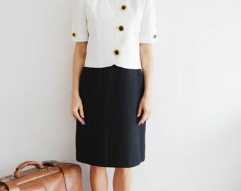 Vintage 1980s Black and White Dress & Jacket - UK 10/12