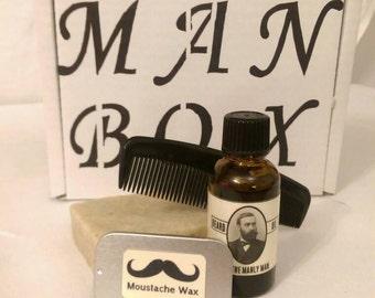Beard and moustache care kit aka man box long lasting basic starter kit