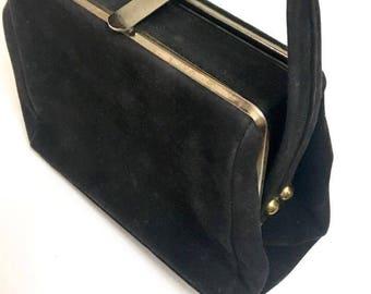 Vintage 50s Black Velvet Box Purse