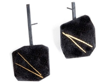 asymmetrical post earrings, geometric black & gold earrings, black and gold post earrings, geometric post earrings, unique texture earrings