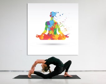 Watercolor meditation canvas wall art, yoiga wall art, yoga studio art, zen decor, yoga studio artwork, meditation canvas print