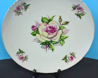 Saji Collectible Plate with Pink and Yellow Coloured Roses
