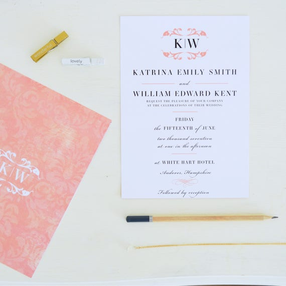 Classic Wedding Invitation and RSVP, blush wedding invitations vintage, traditional wedding invitations UK, vintage invitation design, A5