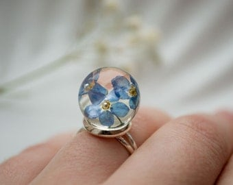 Epoxy resin Ring handmade forget me not ring Blue forget me not ring flower ring Gift for girl