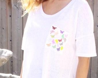 Linen blouse white top boho top linen summer top linen shirt loose linen top women linen tunic casual linen top butterfly print linen tshirt