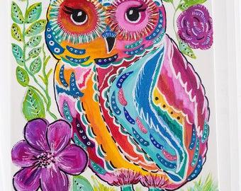 colorful boho owl painting, acrylic owl painting, nature art, bird art painting, abstract owl painting, whimsical owl painting, nursery art