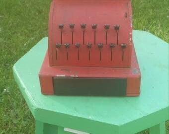 Vintage Red Metal Toy Cash Register, Little Learners Toy Cash Register, Retro Cash Register, Vintage Toy