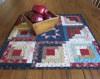 Quilted Table Topper - Scrappy Log Cabin Star