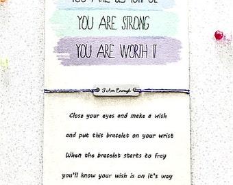I Am Enough Wish Bracelet Wish Bracelet Gift Wish Bracelet Favor Fitness Bracelet Fitness Gift Motivational Bracelet Encouragement Gift