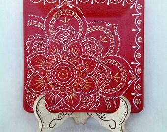 Plato decorativo. Puntillismo. Plato cristal pintado. Hecho a mano. Placa decorativa. Artesanía mexicana. Hecho en México