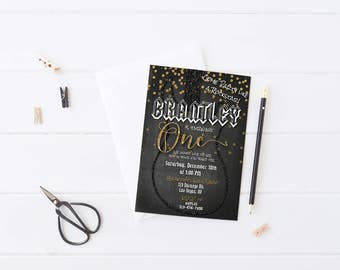 Rock N Roll Birthday Invitation | Rock Star Party | First Birthday Invitations | Gold Glitter Guitar | 1st Birthday Invite