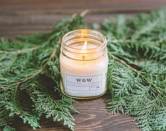 Tree Farm - 9oz Pure Soy Wax Candle in Apothecary Mason Jar with Lid