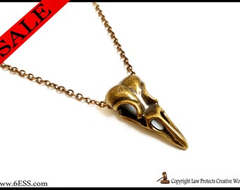 Copper Bird Skull Necklace,Bird Skull Pendant,Goth Jewelry,Skull Necklace,Punk Jewelry, Raven Skull Necklace Crow Skull Necklace,