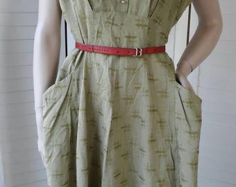 1940s Green cotton sundress with pockets