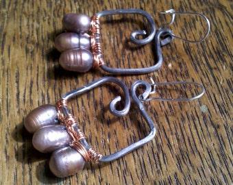 Handmade Earrings, Steel and Lavender Freshwater Pearl Earrings