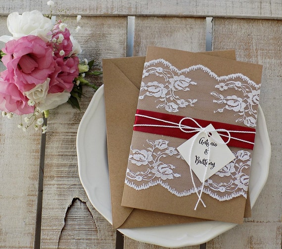 Rustic Lace Wedding Invitation Set, Rustic Wedding, Printed invitation Set, Lace Wedding Invitation, Rustic Invitation, Elegant Assembled