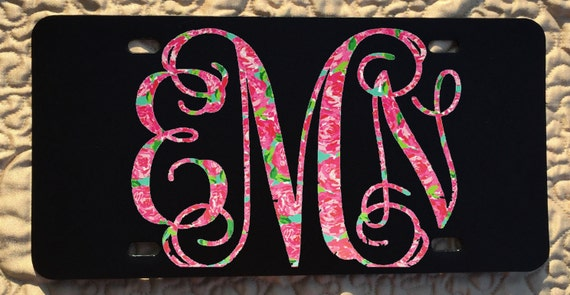Lily Inspired Pattern Custom Monogram Front Car Tag Aluminum License Plate - New Patterns!