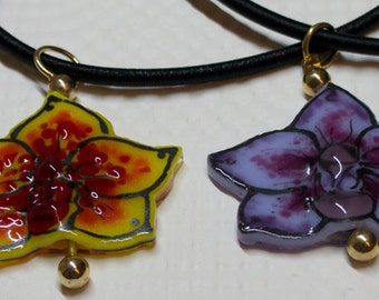 584B A-D Orchid Blossom Necklace - Fused Glass