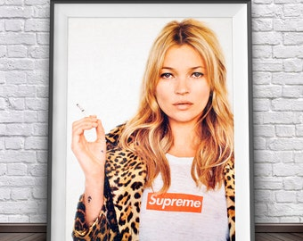 Kate Moss Supreme • Kate Moss Poster Supreme Poster Kate Moss Fashion Poster Digital Download Printable Art Supreme Print Fashion Wall Art