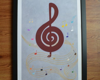 "Music Note Art Print, Fine Art Giclée Print, Musical Notes Art, Wall Decor, Maroon, Silver, Gold,  18"" x 24"", Acrylic Painting Print"