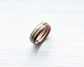 Skateboard Ring - Rasta - Wooden Ring - Wooden bands - Wood Ring - Rasta - Wooden Jewelry - Waterproof Ring - Skate Ring -Wedding Ring