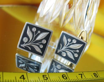 Silver 875 Vintage Russian CUFFLINKS , Niello soviet retro USSR Collectible jewelry Floral motif