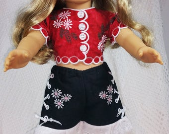 American Doll, Embroidered Doll Clothes, Red Black Doll Outfit, 18 inch Doll Clothes, Doll Shirt and Shorts, Doll Clothes, Doll Apparel