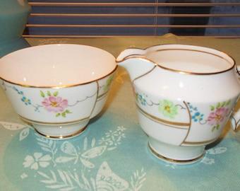 Vintage Creamer and Sugar Bowl Phoenix Bone China Pink & Green Flowers Gold Trim