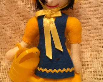 Felt Ornament Dark Haired Girl with Watering Can