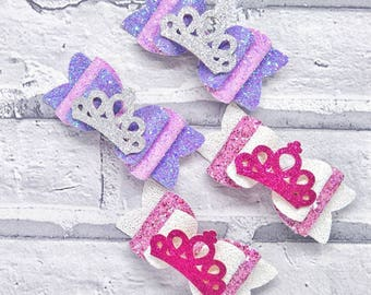 Princess inspired glitter crown hair bows, princess bows, glitter crown bow, girls birthday gift, glitter bows, crown bow, baby headband