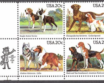 1984 Dogs Postage Stamps Unused Block