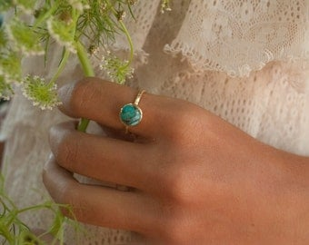 Turquoise Ring* Gold Vermeil Ring * Boho Ring* Blue Ring * Gypsy Ring * Handmade * Hippie * Gold Ring * Blue *Bohemian Jewelry BJR061