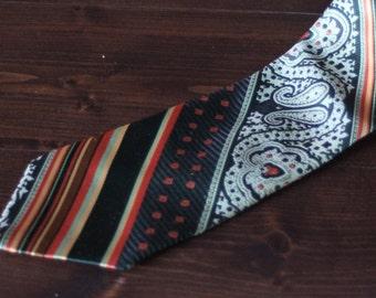 Vintage Men's Tie from the 1970s, 70s tie, vintage wide necktie, orange, black, tan, great gift!