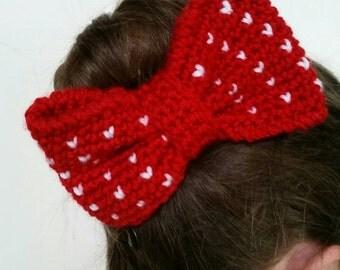 Large heart hair bow, crochet bow, large hair bow, hearts, accessory
