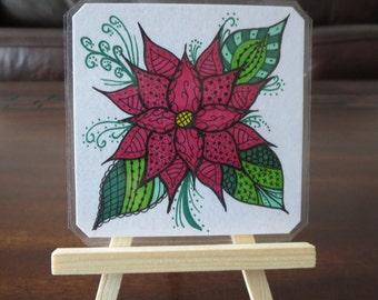 Original Zentangle Flower Drawing on a Card Stock Artist's Tile