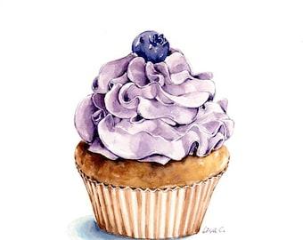 "Watercolor Print  ""Cupcake  5""  Cupcake Art, Cupcake Print, Cupcake  Wall Decor,Kitchen Art, Food Illustration Watercolor Art Print"