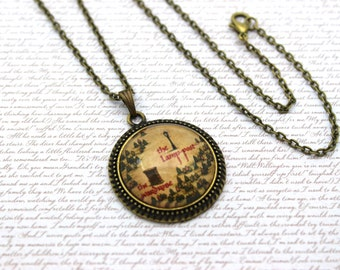 Narnia Map, The Wardrobe and the Lamppost Necklace or Keychain, Keyring