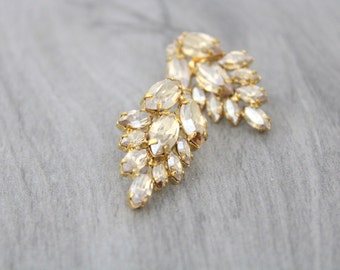 Gold Bridal earrings, Bridal jewelry, Crystal cluster earrings, Bridesmaid earrings, Gold Earrings, Statement earrings, Swarovski earrings