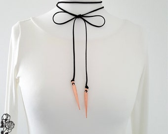 Choker necklace collar cord black Rosé