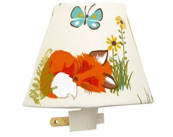 Forest Night Light-Baby Girl Boy-Nursery Night Light-Wall Decor-Kaufman Forest Fellow Racoons Nature