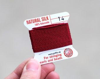 Griffin Silk Thread / No. 14 Garnet / 2 Meters / Pearl Knotting Thread