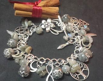 Labradorite bracelet charms, wicca, wicca jewelry, pagan jewelry, witch