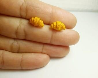 Miniature croissants earrings, polymer clay food jewelry, cute croissants studs, tiny croissants, breakfast earrings,  dollhouse earrings